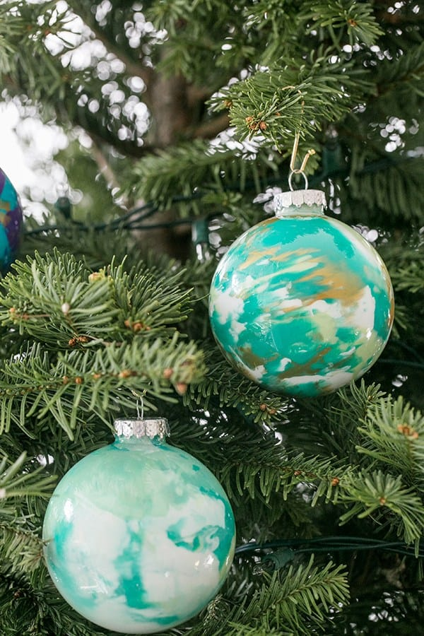 marbled baubles on a tree