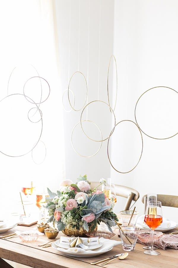 Gold rings hanging from the ceiling