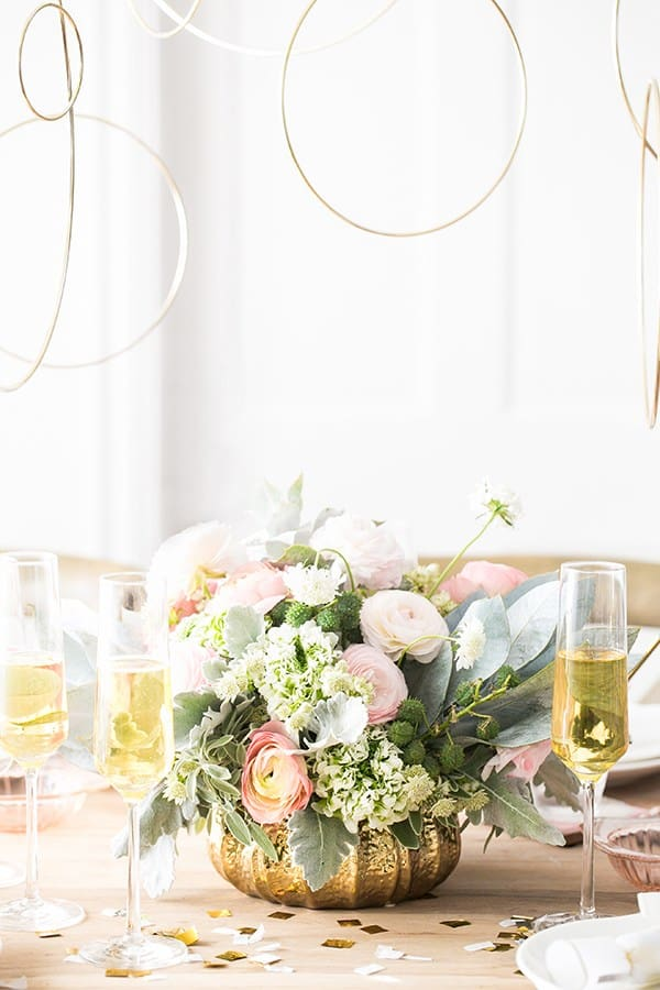Flowers, Champagne and gold rings