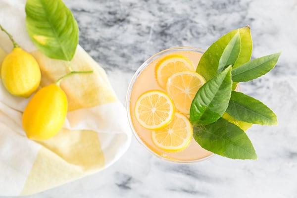 top down shot of rose cocktails with lemon slices