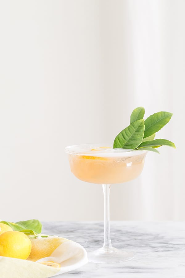 lemon and rosé cocktail with fresh lemon served in a coupe.