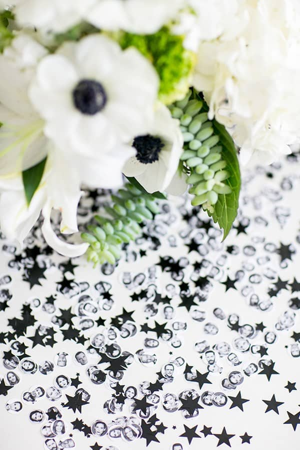 Oscar confetti with flowers and black glitter stars