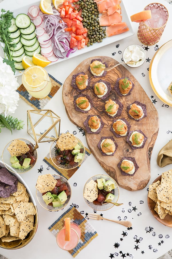 Oscar party appetizers on a table.