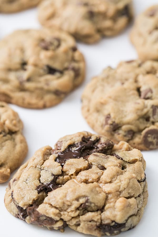 close up of peanut butter and chocolate chip cookies