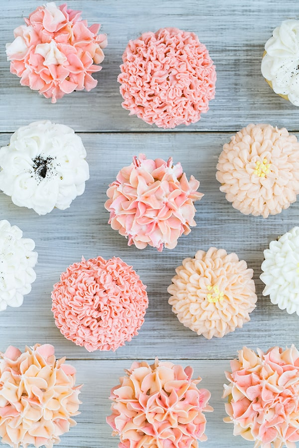 Top down shot of frosted cupcake ideas