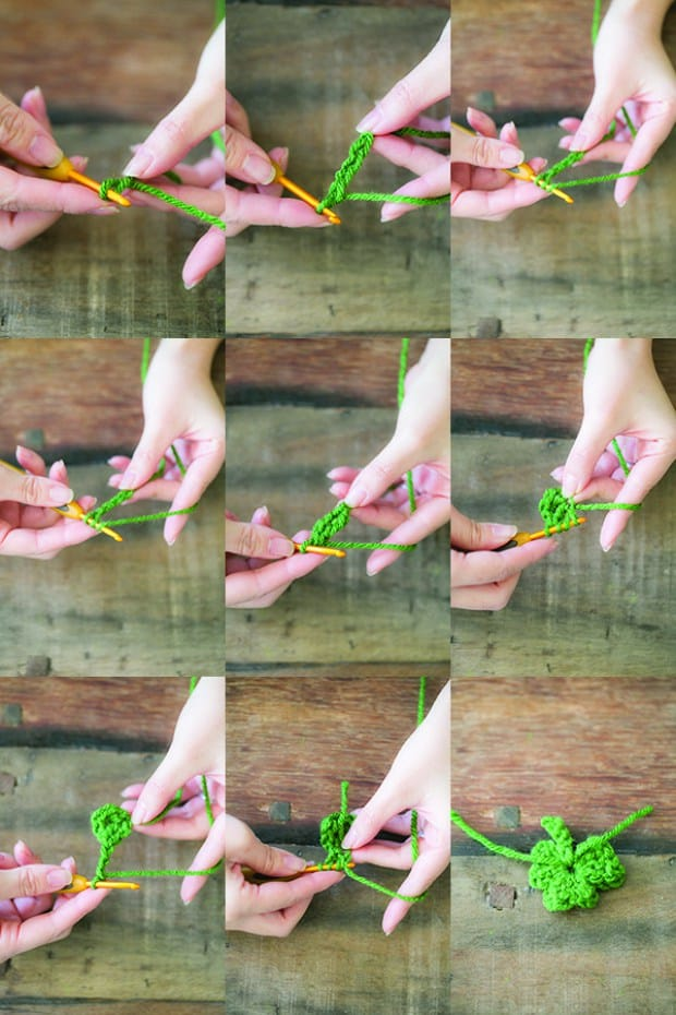 Step by Step photo grid of making shamrocks