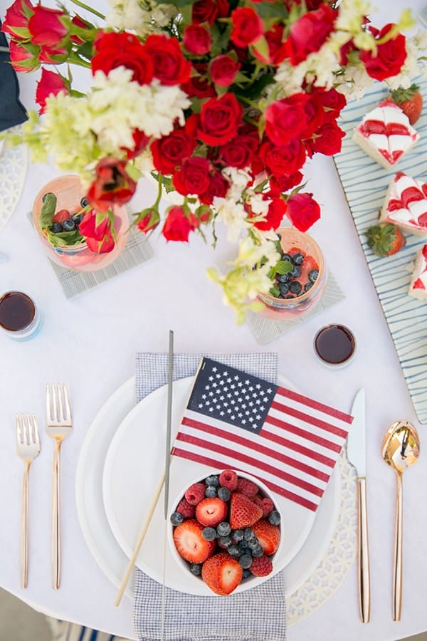 Patriotic tablescape for 4th of July with American flag decor and red, white and blue. Sugar and Charm.