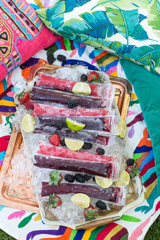 top down shot of alcoholic ice pops on a tray.