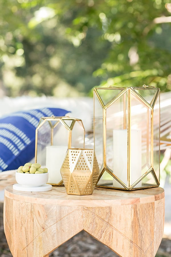 Outdoor lanterns on a side table