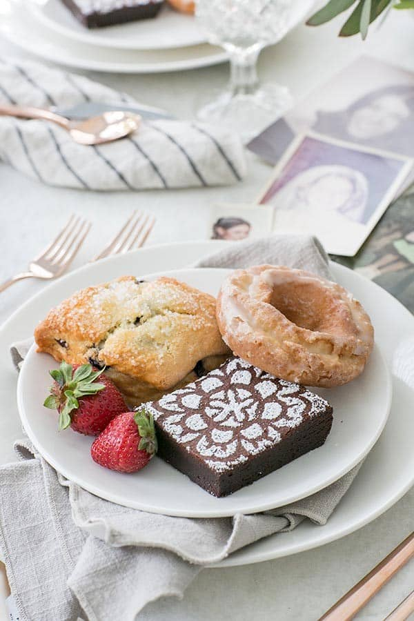 Brownies, scone and donuts for an easy Mother's Day brunch.