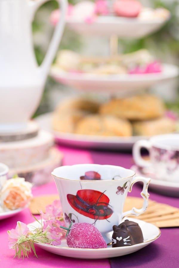 close up of tea cup and saucer