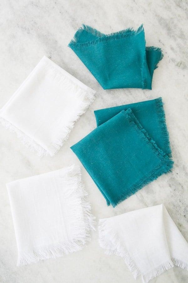 DIY Fringe Linen Napkins - Sugar and Charm Sugar and Charm