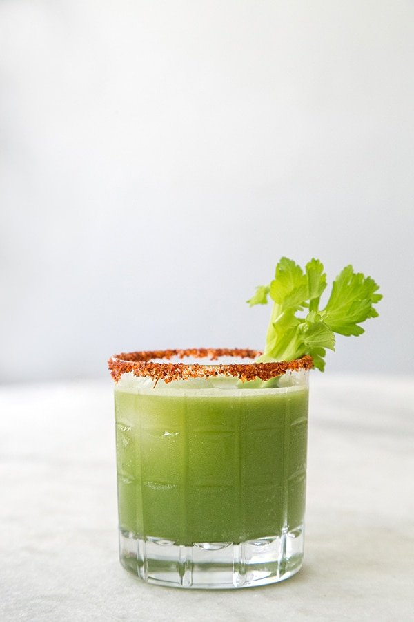 Fresh green juice cocktail with celery.