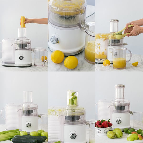 Juicing vegetables and fruit.