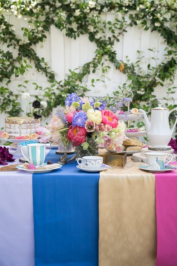 shot of table for Alice in Wonderland Tea Party