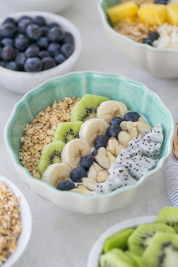 Blue bowl filled with yogurt and rows of fresh fruit.