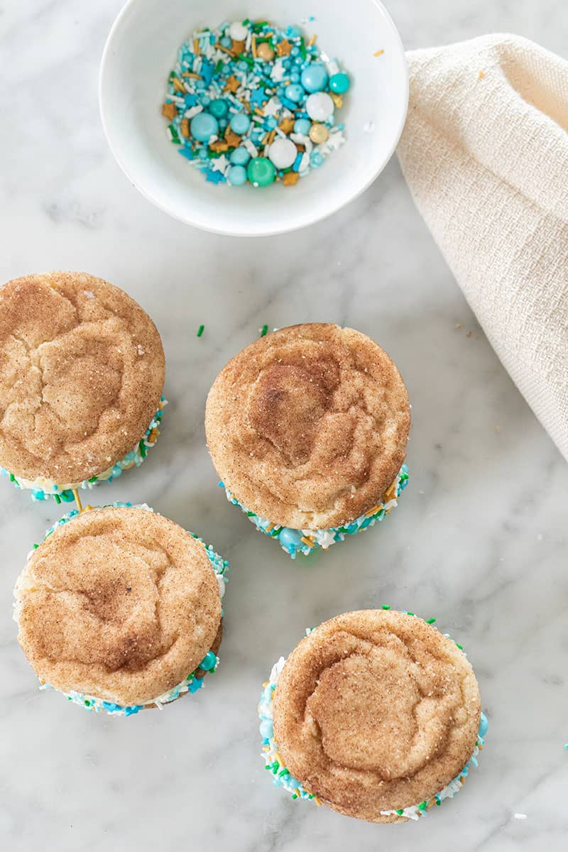 Snickerdoodle cookies with blue sprinkles