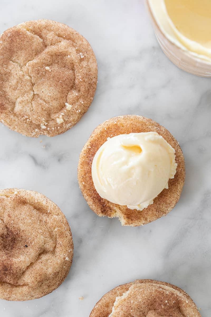 Scoop of ice cream on snickerdoodle cookies.