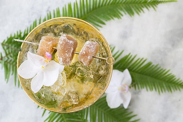 Ginger Caipirinha with candied ginger