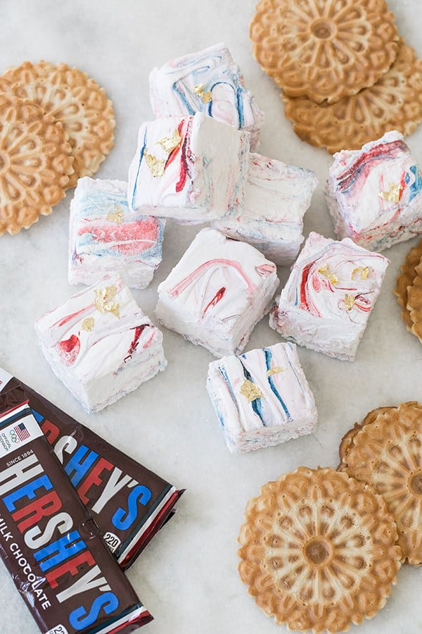 Giant marbled marshmallows with red, white and blue with specs of gold.