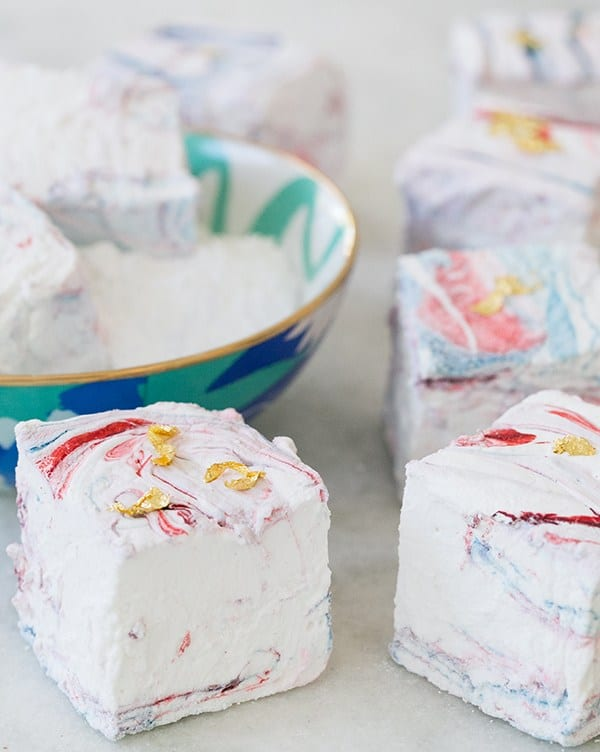 marbled marshmallows with gold leaf specks.