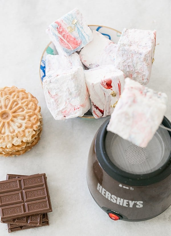 Giant red white and blue marshmallows with a Hershey's roaster.