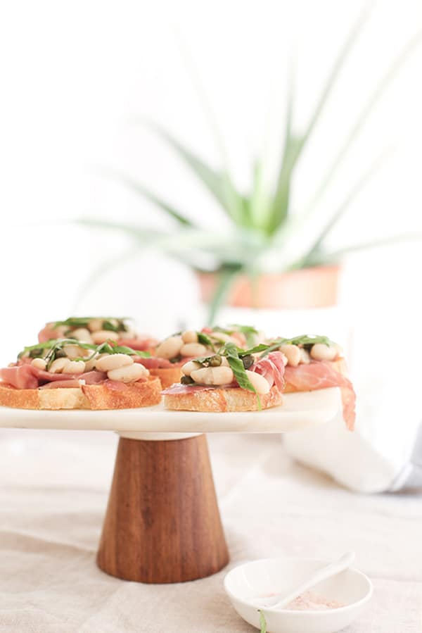 Appetizers on a cake stand