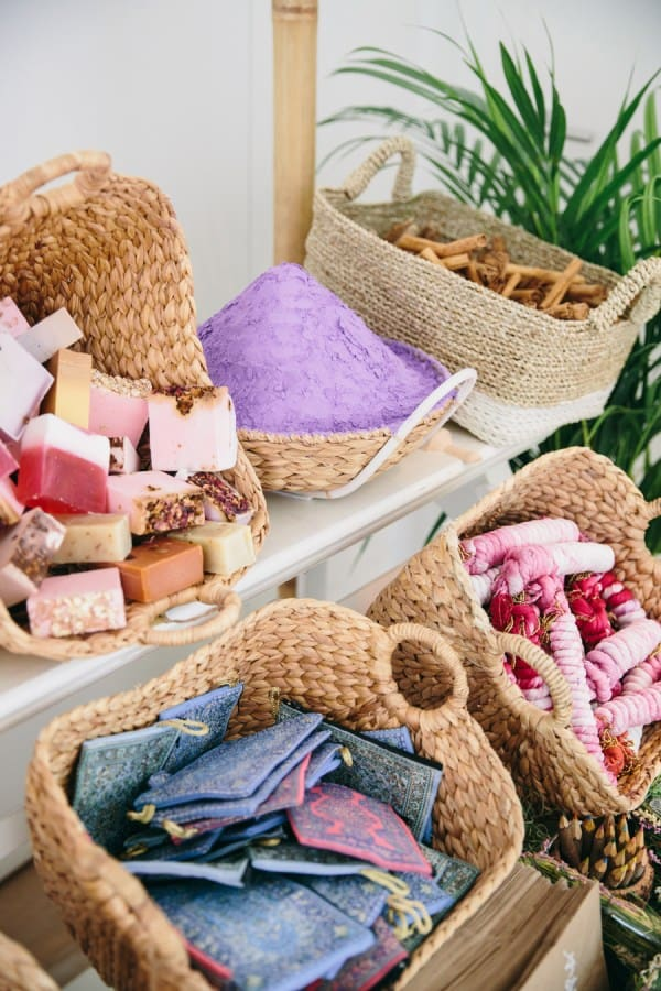 Spices and soaps in baskets.