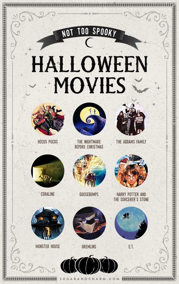 A graphic with photos of family friendly Halloween movies.