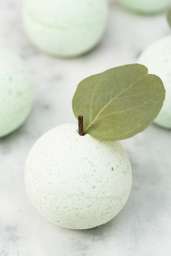 close-up of a green apple bath bomb