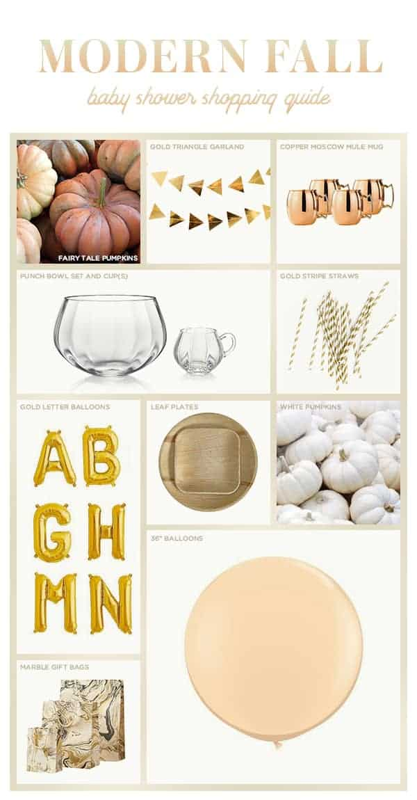 Graphic with shopping ideas for a modern fall baby shower.