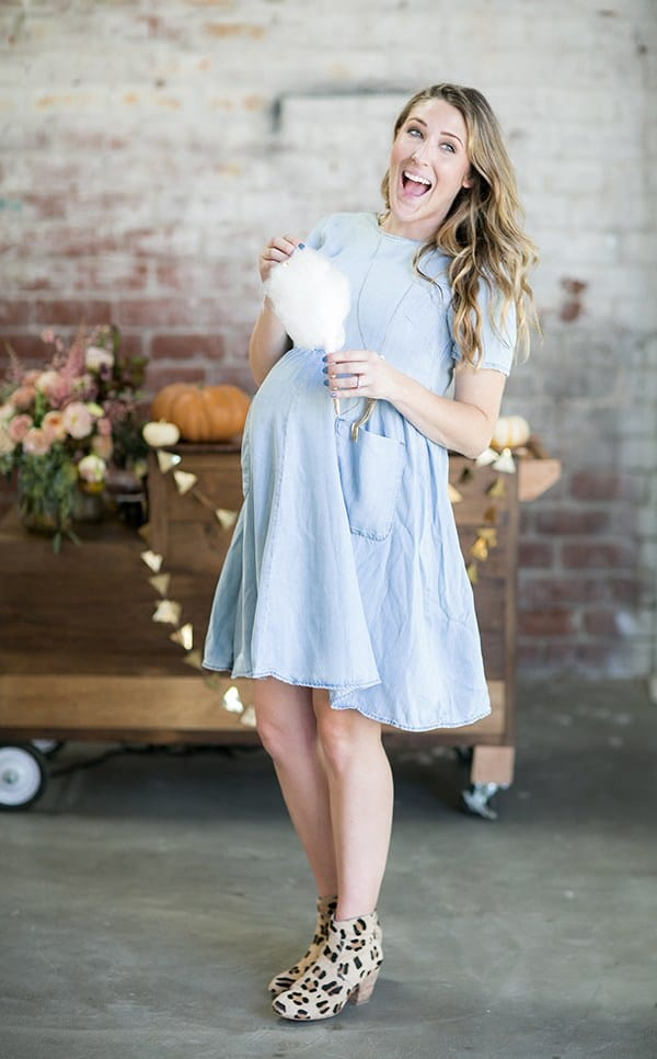 Eden Passante holding cotton candy at her baby shower