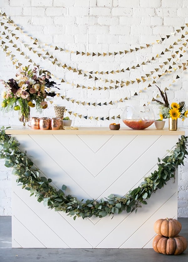 Fall white bar with garland and fairytale pumpkins