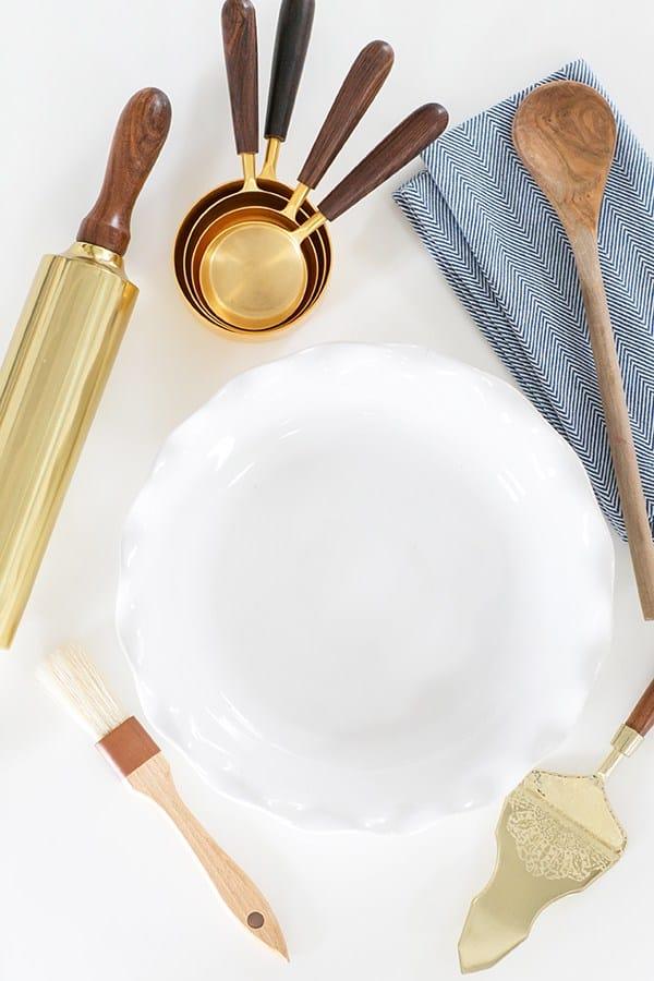 shot of pie making utensils