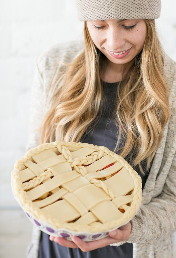 shot of guest holding a pie