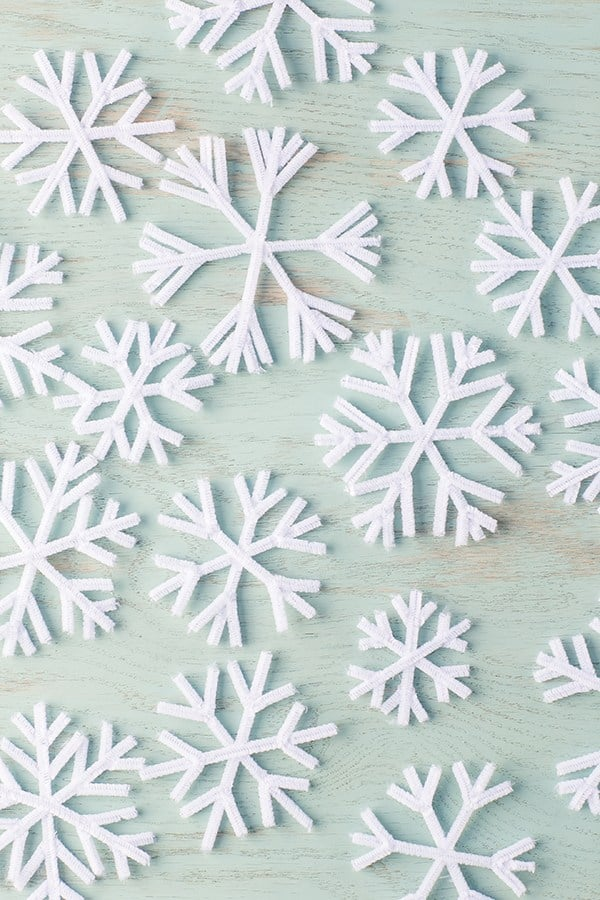 pipe cleaners shaped in snowflakes