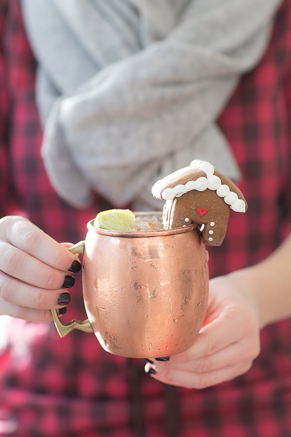side on shot of christmas moscow mule