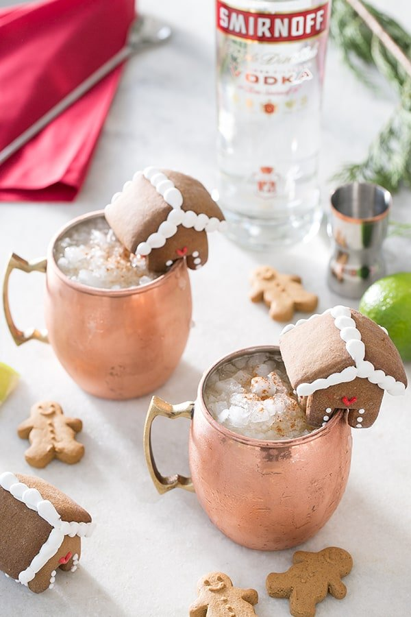 shot of 2 christmas moscow mules