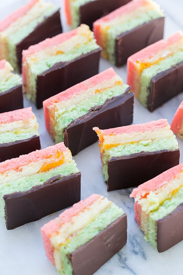 overhead shot of sliced italian rainbow cookies