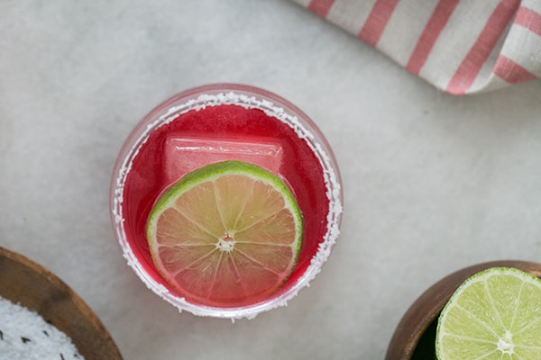 top down shot of hibiscus margarita