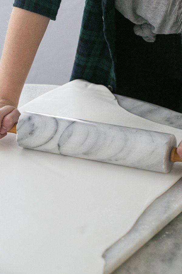 Fondant being rolled out.