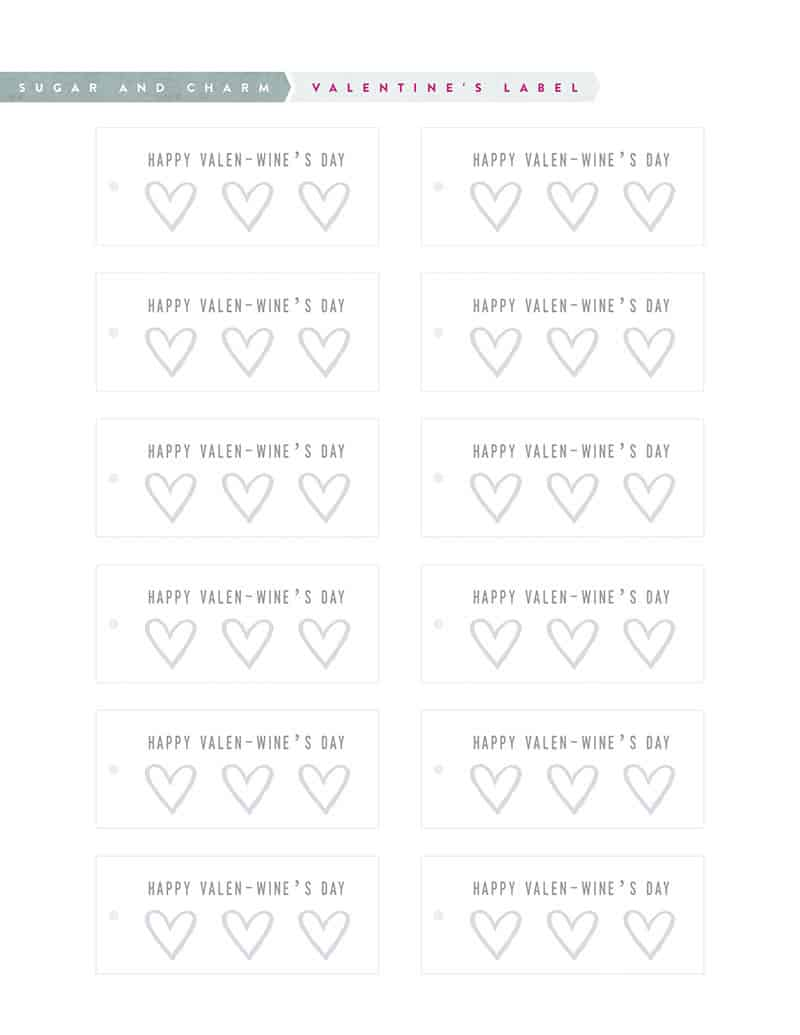 Valentine's Day Printable tags for wine bottles.