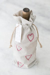 DIY Valentine's Day Embroidery Wine Bags