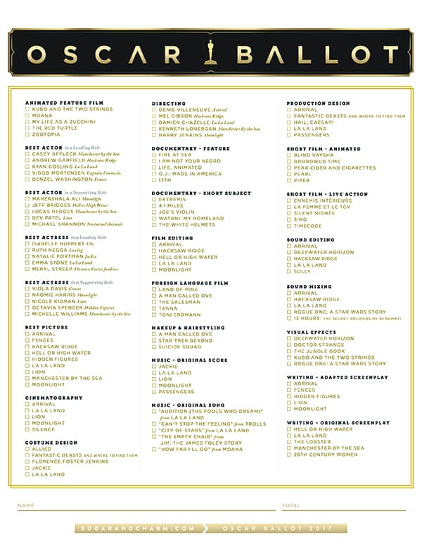 photograph about Oscars Printable Ballots titled 2017 Oscar Ballot Printable - Sugar and Enchantment