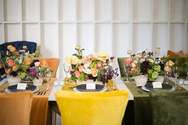 yellow and green chairs with flowers.