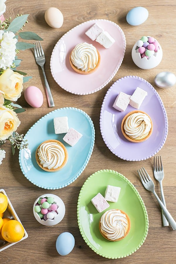 Easter ideas with desserts on egg plates.