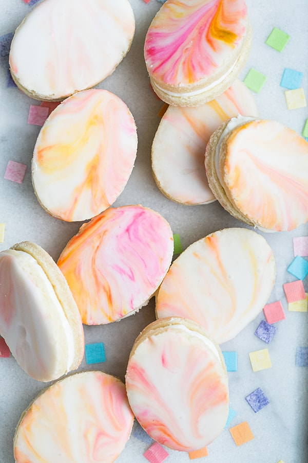 Marble sugar cookies in an egg shape.