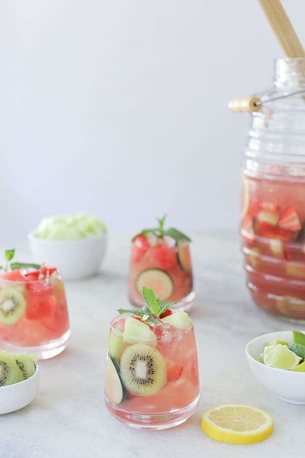 watermelon sangria in a glass on a table