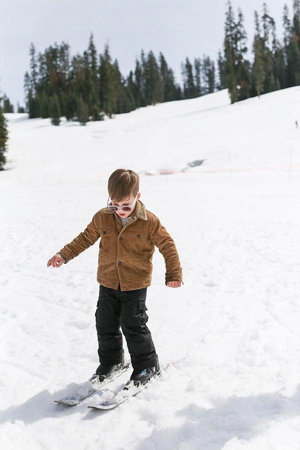 Little boy skiing