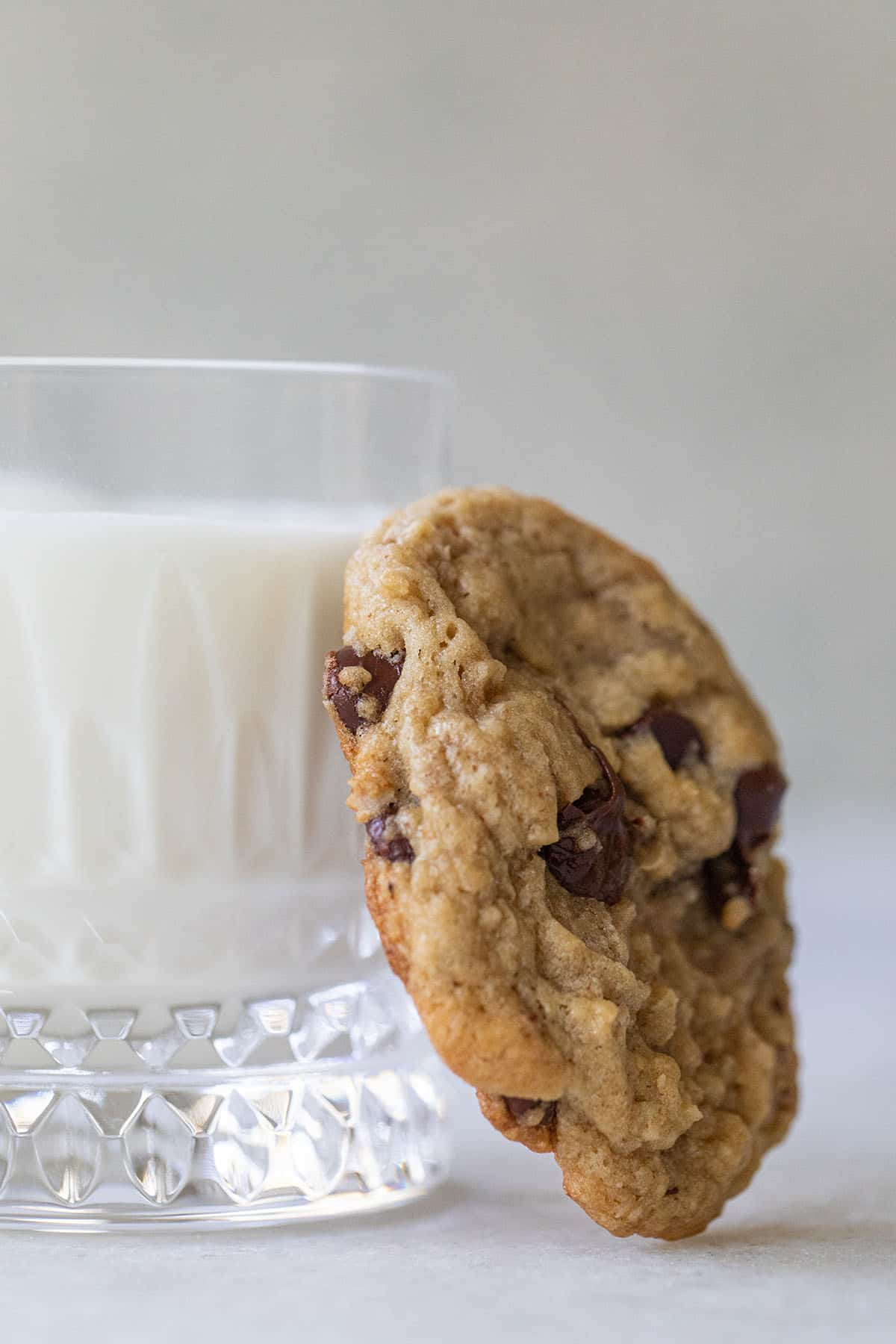 oatmeal chocolate chip cookie with milk